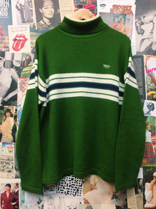 Retro 1970s Inspired Wool Blend Green Turtleneck Striped Knit Jumper