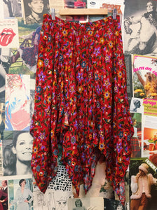 Vintage Retro 1990s Shivam Bright Red Floral Handkerchief Skirt
