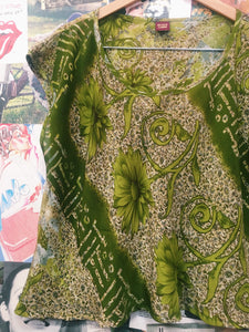 Indian Silk Blend Forest Green Floral & Paisley Shirt