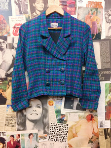 Vintage 1990s Black Door Tweed Multi-colour Blue Plaid Cropped Blazer