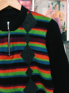 Vintage Striped Diamond Pattern Wool Knit w/ Zip