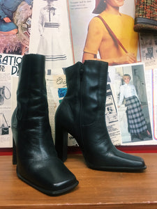 Vintage 1990's Genuine Leather Square Toe High Heel Boots w/ Western Pattern Detailing