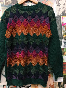 Vintage Multi-colour Diamond Check Knit Jumper