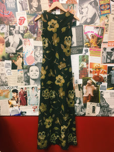 90's Olive Green Floral Sundress