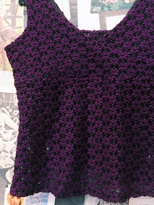 90's Maze Purple Floral Daisy Mesh Top