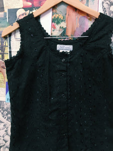 Vintage Black Frilled & Floral Emroidered Button-up Top