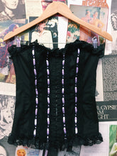 Gothic Corset w/ Purple Ribbons & Lace Trimming
