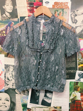 Grey Lace Peasant Top w/ Frilled Bib & Velvet Trim