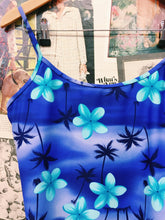 y2k Hawaiian Print Frangipani & Palm Tree Swim Cami