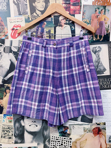 Vintage 1980s/1990s Rosy Lane High Waist Multicolour Plaid Tartan Shorts