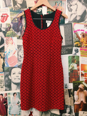 Vintage Red Floral Daisy Mesh Lace Dress