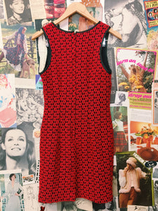 Vintage 1990s Stiletto Red Floral Daisy Mesh Lace Dress