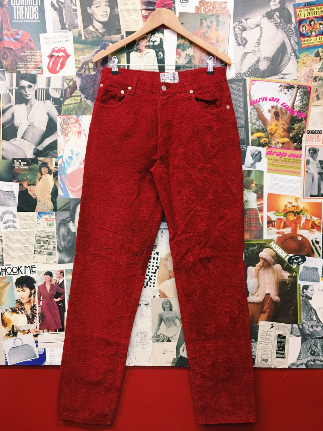 Vintage Red Hot Textured Furry High Waist Mom Pants