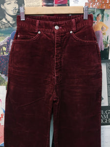 Vintage 1980s Blues Union Patch Red Wine Corduroy Super High Waist Skinny Jeans