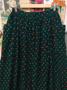 Vintage 1990s Designer Laura Ashley Paisley Print Corduroy Sun Skirt