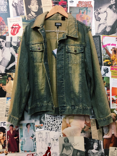 Vintage 1990s TM Two Tone Distressed Grunge Denim Trucker Jacket