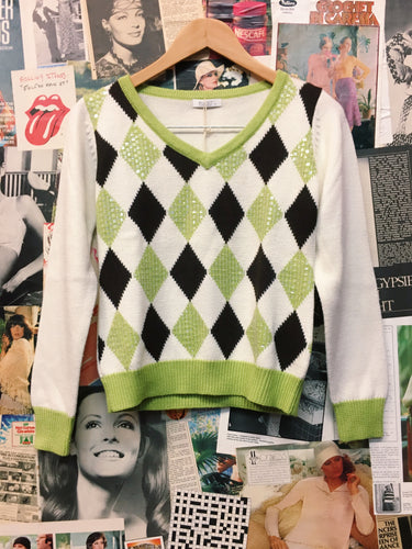 y2k Designer Wanko Wool Blend Diamond Check Sequin Jumper