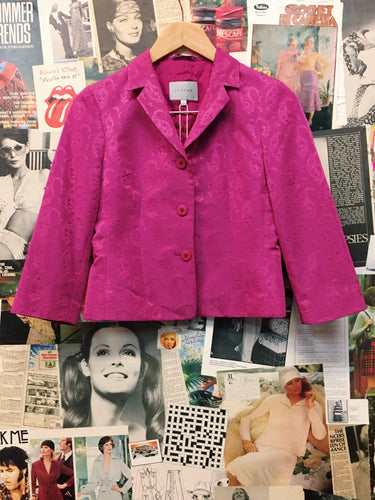 Luxury Designer Jigsaw Hot Pink Satin Paisley Brocade Blazer