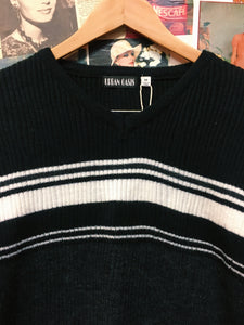 Vintage 1990s Urban Oasis Striped Black, Grey & White Knit Jumper