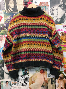 Retro 1970s Inspired Turtleneck Cosby Style Box Cut Jumper