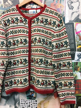 Vintage 1970s Paul Harris Boho Floral Embroidered Knit Cardigan