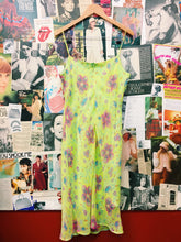 y2k Neon Lime Green Floral Flower Power Pencil Dress