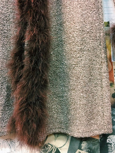 70's Faux Feather Trim Brown Duster