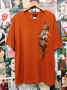 1990s Orange Tribal Tattoo Hawaii & Turtle Graphic Tee