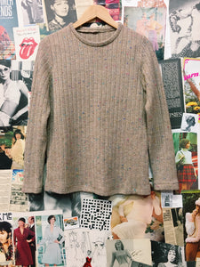 Vintage 1970s Beige Rainbow Specks Knit Jumper