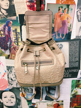Colorado Leather Embossed Cream Mini Backpack