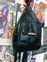 Vintage 90's Black Leather Tear Drop Pouch Mini Backpack