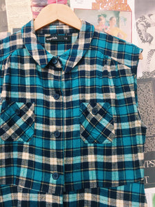 Blue Flanellete Plaid Button-up Dress