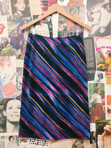 90's Art Deco Textured Psychedelic Striped Skirt