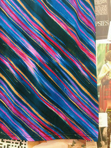 Vintage 1990's U-NIK Art Deco Textured Psychedelic Striped Skirt