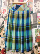Vintage Pleated Plaid Green & Blue Maxi Skirt