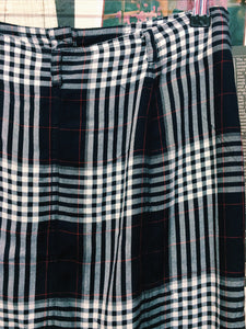 Navy Plaid Button Up Midi Skirt