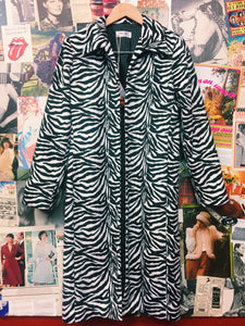 Zebra Print Furry Full Length Jacket