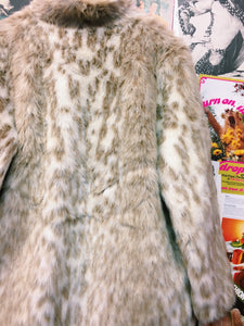 Vintage 1960s/1970s Snow Leopard Faux Fur Coat