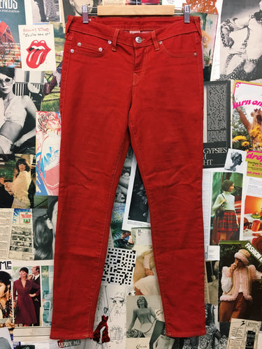Designer y2k 'Halle' by True Religion U.S.A Tomato Red Skinny Jeans