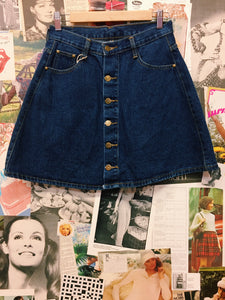 Classic High Waist Button-up Denim Skirt
