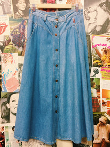 Vintage Button Up Denim Maxi Skirt