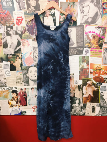 1990's Blue Tie Dye Mesh Maxi Pencil Dress