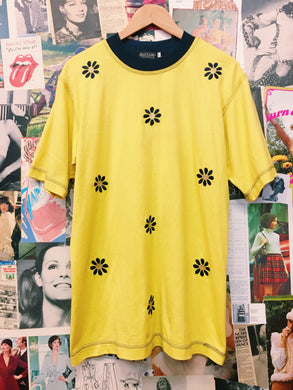 1980's Neon Yellow Daisy Oversized Tee