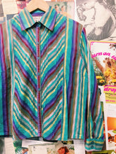 1980's Vintage Striped Multi-colour Blouse
