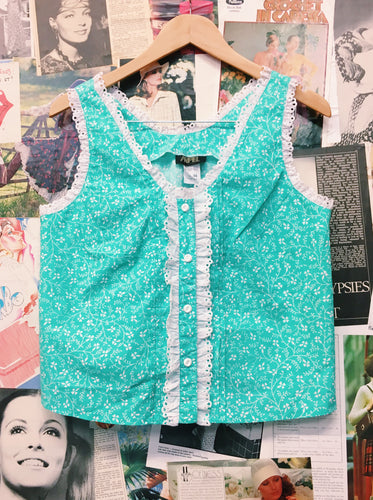 Vintage 1980's Arpel Mint Aqua Floral Print Frilled Peasant Button Up Top