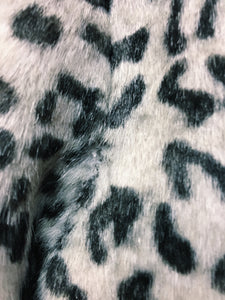 White Snow Leopard Faux Fur Swing Coat w/ Silver Buttons