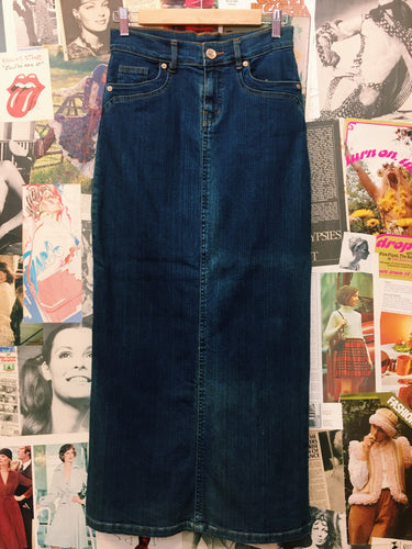 90's High Waist Denim Pencil Maxi Skirt