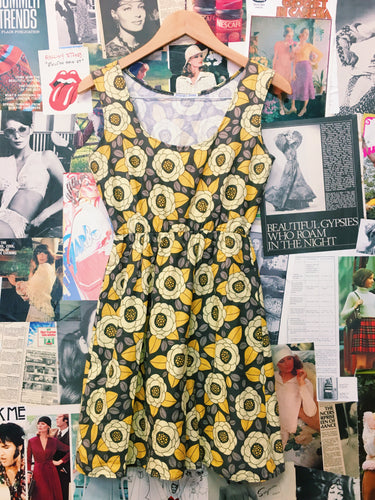 70's Mustard Flower Power Print Dress