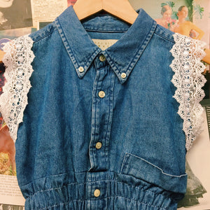 Vintage Denim Button-up Crop Top w/ Lace Sleeves
