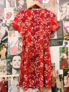 4-bidden Red Floral Button-up Dress